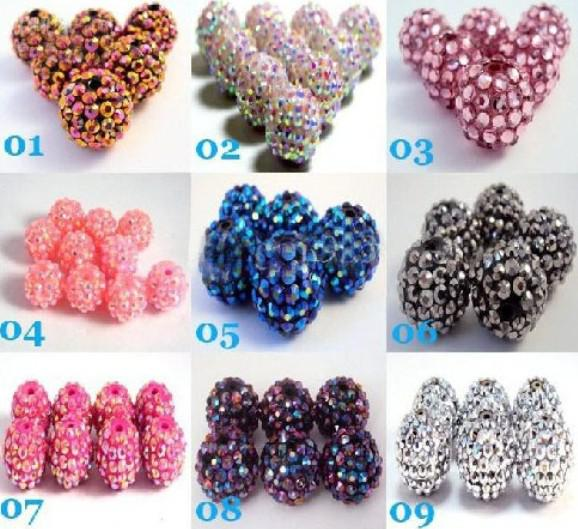 Lowest price Mix Color 10MM 12MM 14MM 16MM 1000PCS EXPOY Balls Resin Crystal Pave Spacer Loose Beads