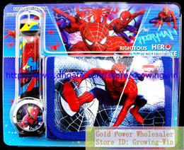 Wholesale Spiderman Bags Wholesale - kids children spiderman shipping kids children spider-man Kids Cartoon Purse Watch & Money Purse Coins Bag Wallet sets christmas gift watche