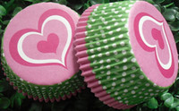 Wholesale Muffin Case Green - 500pcs mulity sweet heart green circle cupcake liners baking paper cup muffin cases for party