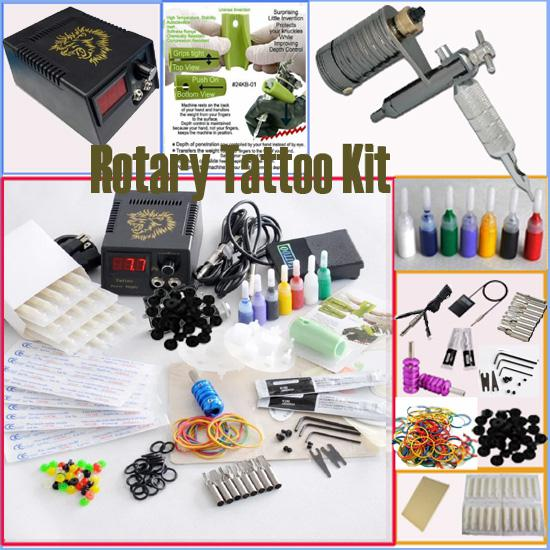 Wholesale Rotary Tattoo Machine Gun Kits Power Supply Needles Tip Grip Adjusted Tools Accessories Tatttoo Gun Kits