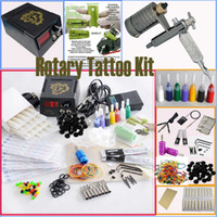 Wholesale Tattoo Grips Tips Kits - Wholesale Rotary Tattoo Machine Gun Kits Power Supply Needles Tip Grip Adjusted Tools Accessories Tatttoo Gun Kits