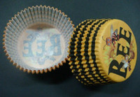 Wholesale Stripe Cupcake Case - 500pcs cute bee brown yellow circle stripes cupcake liners baking paper cup muffin cases for party