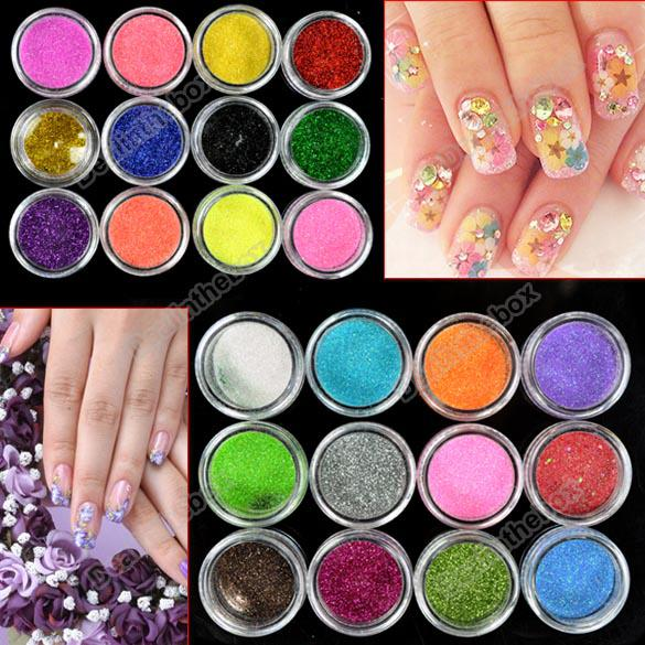 Gl Nail Art   Grosshandel Neue 24 Farben Metall Glanzend Glitter Nail Art Tool Kit