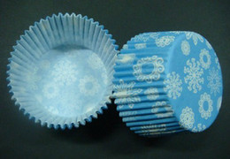 Wholesale Cupcake Cases Blue - 500pcs multi snowflakes with blue color cupcake liners baking paper cup muffin cases for party
