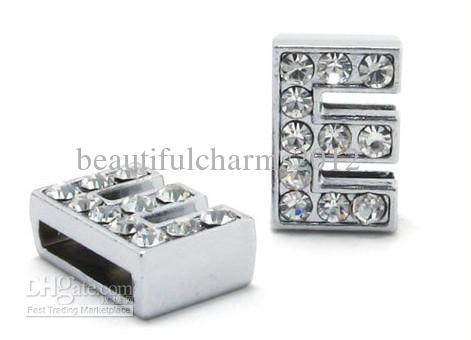 Commercio all'ingrosso / 8mm E Rhinestones completi Bling scorrevole lettera Accessori fai da te Fit For 8mm bracciale in pelle braccialetto 0005
