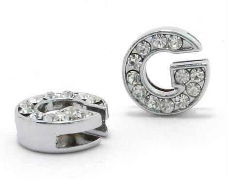 Gros / 8mm G Full Strass Bling Lettres Glissières DIY Accessoires Fit Pour 8mm collier de collier pour animaux de compagnie 0007