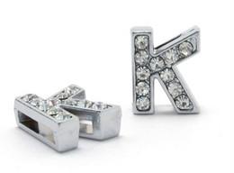 Wholesale Letter K Charms - Wholesale 50pcs lot 8mm K Full Rhinestones Bling Slide Letters Fit For 8mm diy bracelet keychains 0009