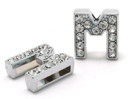 Wholesale Charms Letters M - Wholesale 50pcs lot 8mm M Full Rhinestones Bling Slide Letters DIY Accessories Fit For 8mm wristband bracelet keychains 0014