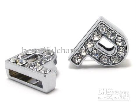 Venda por atacado - / 8 milímetros P Strass completos Bling DIY Alloy Slide Cartas Fit para pulseira de couro pulseira de 8 MM 0016