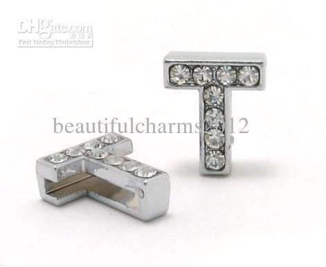 En gros / 8mm T Pleines Strass Bling Lettres Slide Slide Accessoires de Bricolage Fit Pour 8mm bracelet bracelet bijoux de mode 0020