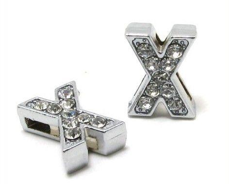 Al por mayor - 8 mm X Full Rhinestones Bling Slide letras encajan para 8 mm collar de cuero pulsera Wristband 0024