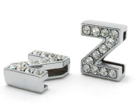 Venda por atacado - 8 milímetros * Z * Strass completo de cor de prata Letras de Desgaste Use letras Fit Pet Collar Pulseira DIY Pulseira