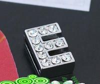 Wholesale letter e charm - Wholesale - 50pcs 10mm *E*Slide Letters Wear Letters Fit Pet Collar DIY Charms 0029