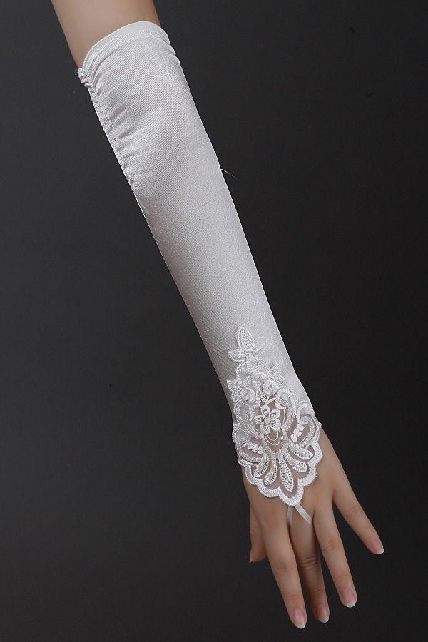 White/Ivory Fingerless Long Gloves Applique Satin Bridal ...