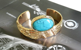 Wholesale Turquoise Bracelets Real - Women Gold Brand Bracelet Real Big Stone Embed Gold Arty Cuff Bangle 4 Colors High Quality European Style Have Same Finger Rings