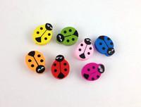 Wholesale wooden ladybug - 60PCS Mixed colours wooden ladybug Beads #20770