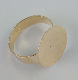 Base de l'anneau plaqué or rose blanc, colle 15mm PAD # 20834