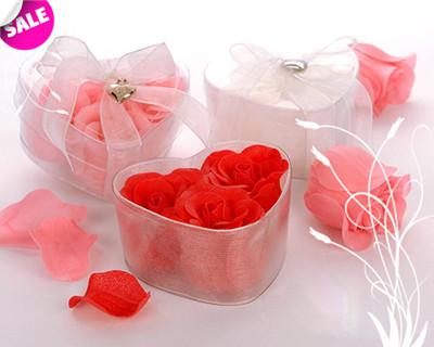 무료 배송! 10Boxes = 장미 / 매력과 포장 하트 모양 상자, 아이보리 컬러 장미 꽃 비누, 수제 장미 꽃잎 비누