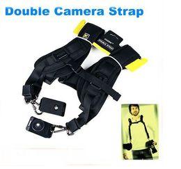 Bandoulière en Ligne-Courroie d'épaule double sangle de cou bandoulière SLR Courroie d'épaule d'appareil photo reflex numérique pour 2 appareils photo