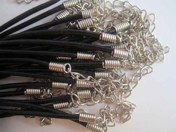 2.0 мм 18-20 дюймов регулируемый черный кожаный шнур ожерелье с застежкой Омар 100шт/много