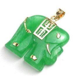 Wholesale Gps Pendant - Green jade 18K GP elephant pendant necklace