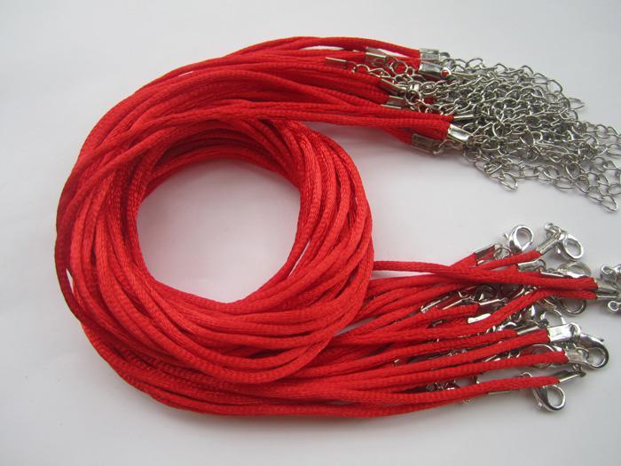 17-19 дюймов регулируемая 2мм черный атласный шнур ожерелье с застежкой Омар 100шт/много