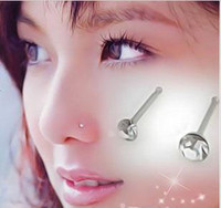 Wholesale stud 2mm resale online - 60pcs mm Nose Ring Fashion Body Jewelry Nose Stud Stainless Surgical Steel Nose Piercing Crystal Stud QY