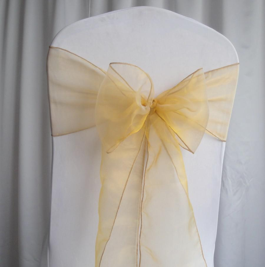 2019 Gold Organza Chair Sashes Wedding Party Decorations