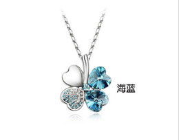 Wholesale Clover Flower Necklace - FREE SHIPPING 12PCS 925 sterling Necklaces Four Leaf Clover Pendant Necklace Lovers Gift