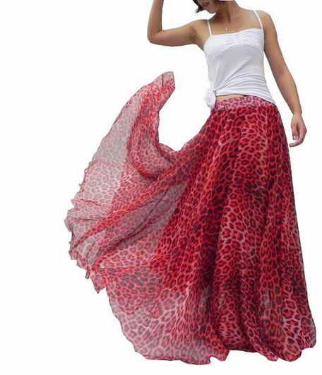 2017 2014 New Style Fashion Skirts Double Red Leopard Chiffon ...