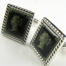 Wholesale Enamel Stamp - 10pairs Valuable Queen Elizabeth Stamp Cufflinks White Gold UK One Penny Black Enamel Silver French Cuff Links Queens jubilee Souvenir Gift