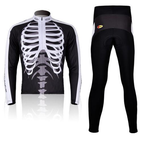 Ciclismo Bicicleta Esqueleto cómodo de manga larga Jersey + Pantalones de bicicleta