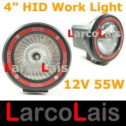 "Wholesale Atv Lighting Kit - 2PCS 4"" 55W 12V 4WD HID Xenon Spot Flood Work Light Vehicles Driving SUV ATV Offroad White"