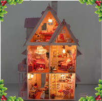 Wholesale DIY dollhouse room miniatures Pretty Princess Room cabin dream world gifts model Alice with light