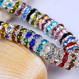 Wholesale Acrylic Crystal Beads Silver Wholesale - Mix Colors 8mm CZ Crystal Wave Rondelle Spacer Balls Beads 925 Silver Beads Ball Jewelry 1000pcs lot