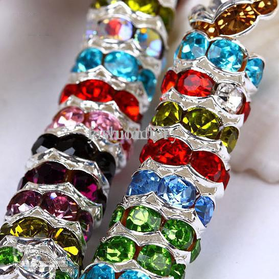 Misturar Cores 8mm CZ Cristal Onda Rondelle Spacer Bolas Beads 925 Grânulos de Prata Bola de Jóias 1000 pçs / lote