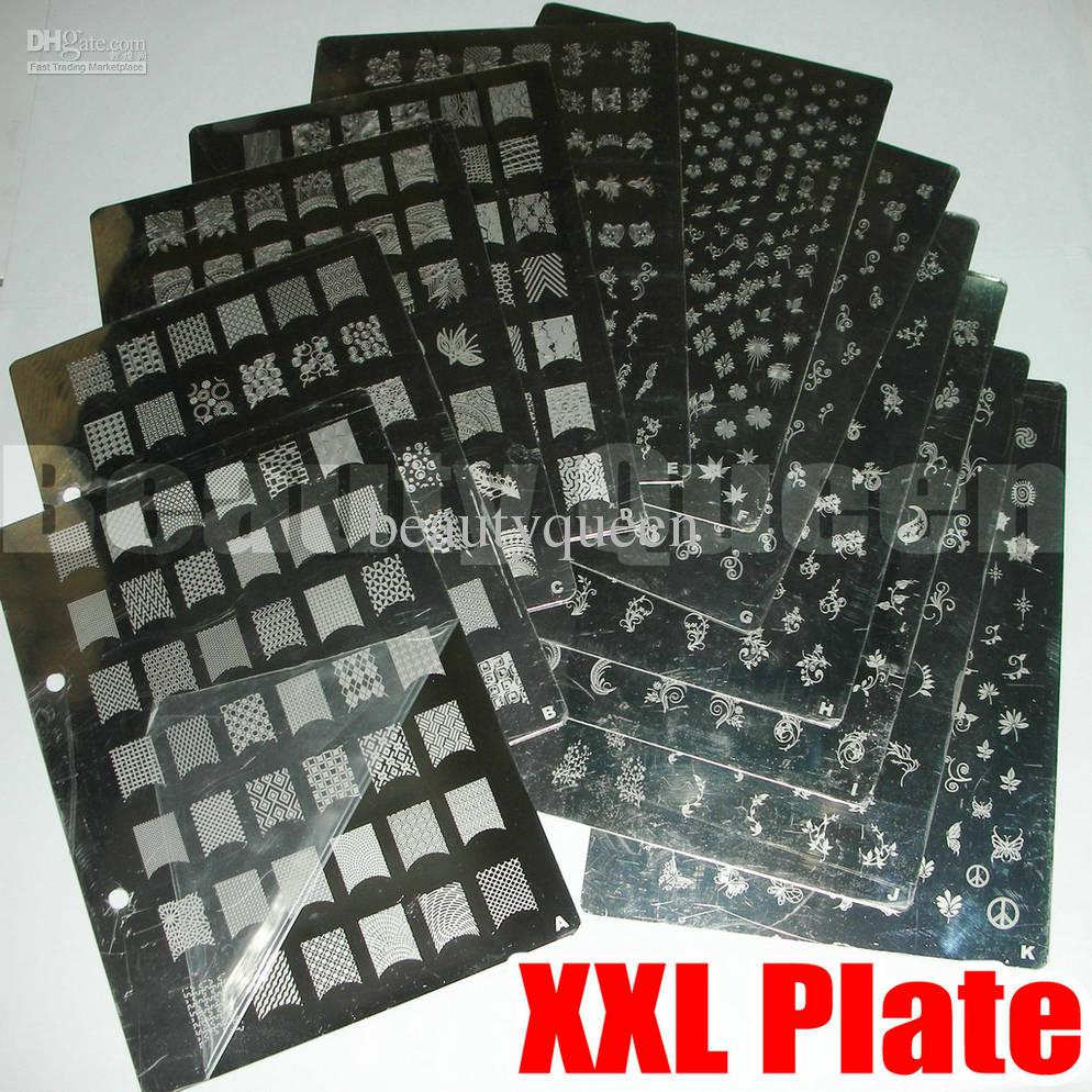 Nail Art XL XXL Stamp Stamping Plate A to K Image Plate French Full ...