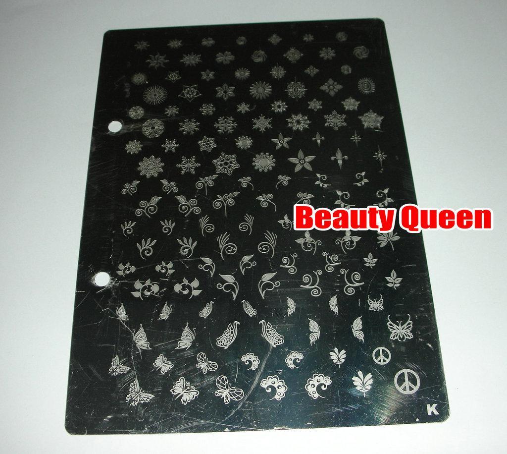 Nail Art XL XXL Stempel Stempelplatte A bis K Bildplatte Französisch Full Designs große große Druckvorlage