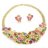 nj gold оптовых-разноцветные свадебные jewlery набор бабочка кластера ожерелье серьги набор Neoglory Rihood ювелирные изделия NJ-435 18k реального позолоченные