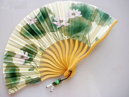 """Discount fan pc china - 7"""" Tassel Fine Wedding Bridal Hand Fan Ladies Chinese Floral Silk Cloth Folding Decorative Fans Crafts Gifts 10 pcs"""