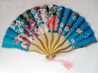 """Wholesale Chinese Christmas Costumes - 7"""" Fine Pretty Women Dance Show Props Hand Fans Folding Decorative Chinese Silk Floral Fan Crafts Gifts Free shipping"""