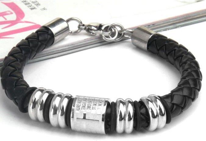 Couro genuíno titanium aço inoxidável 316L cruz bíblia pulseira fecho da lagosta homens jóias pulseiras religiosas cintura