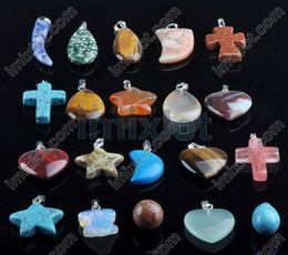 Wholesale Assorted Necklace Pendants - Mixed lot 100pcs Assorted Gemstone Pendants Fashion Fit Bracelet & Neck Lace Women Jewelry Free Ship [N56*100]