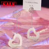 Wholesale Pearls Place - Free Shipping, 4pcs lot! Heart with Pearl Place Card Holder Favors included paper card, place card holder favors