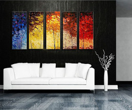 abstract art landscape NZ - Stretched abstract Landscape Knife oil painting canvas Ready to Hang thick oil artwork handmade modern home office hotel wall art decor Gift