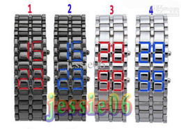 Wholesale Led Chain Watches - Lava LED watch Japanese iron samurai lovers watch chain red and bule led light gift