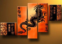 Pittura a olio Dragon Feng Shui decorazione moderna di alta qualità dipinta a mano home office wall art decor