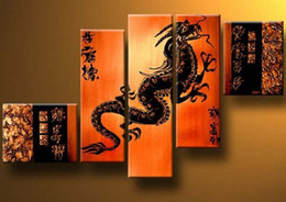 Wholesale Wall Dragon Decor - oil painting Dragon Feng Shui decoration Modern high quality hand painted home office wall art decor