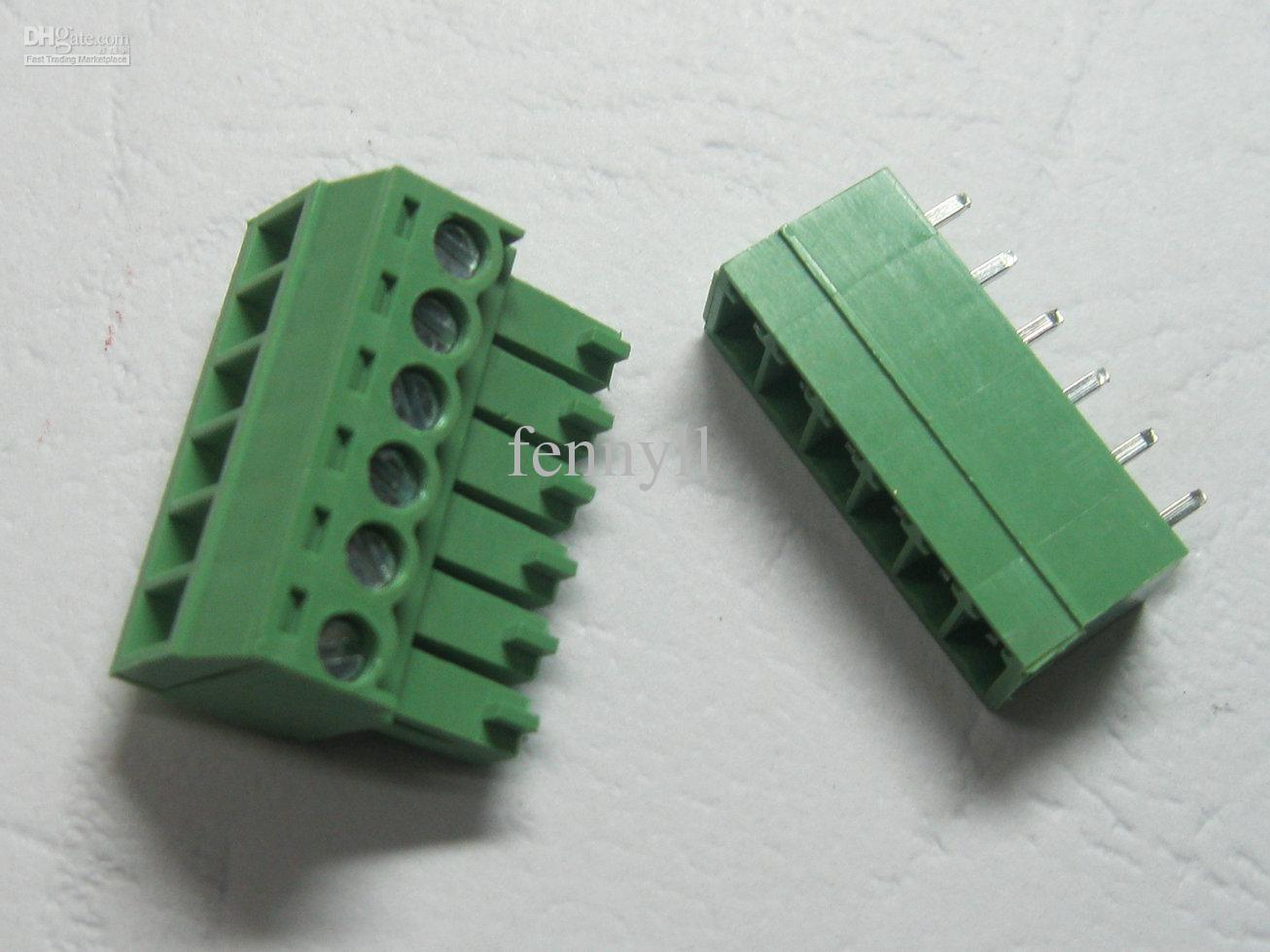 30 Pcs Green 6pin 3.5mm Screw Terminal Block Connector Pluggable Type High Quality HOT Sale