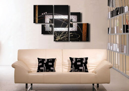 Wholesale Textured Oil Painting Frame - Stretched Black Silver Modern abstract oil painting canvas Ready to Hang Textured artwork hand painted home office decoration wall art decor